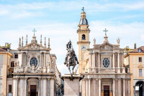Piazza San Carlo con la statua di Emanuele Filiberto e le Chiese Santa Cristina e San Carlo
