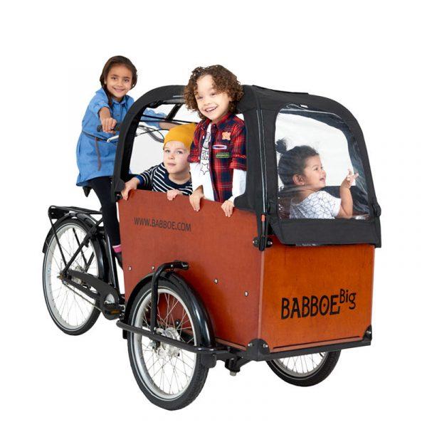 Babboe Big - porta fino a 4 bimbi con le sue 2 panchette pieghevoli e cinture omologate di serie - tanti accessori (15% di sconto se acquistati con la bici) per rendere ancora più confortevole la tua cargo